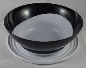 Tupperware-C-124-Eleganzia-4-6-l-Schuessel-mit-Deckel-Schwarz-Weiss-Neu-OVP