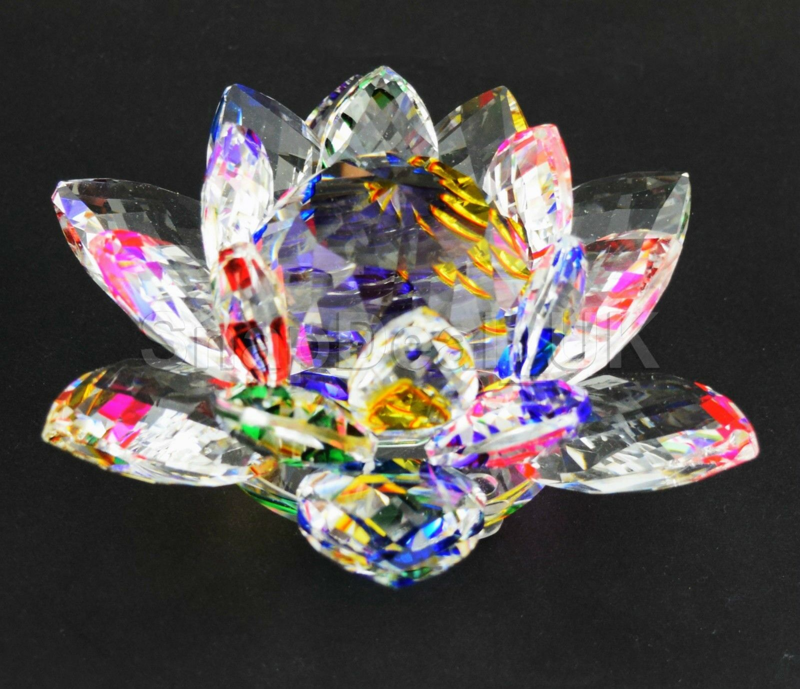 Large Multi Crystal Lotus Flower Ornament With Gift Box Crystocraft
