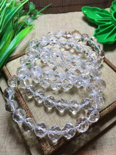 10mm 64 Surface Cut Faceted Natural Clear White Quartz Crystal Beads Bracelet