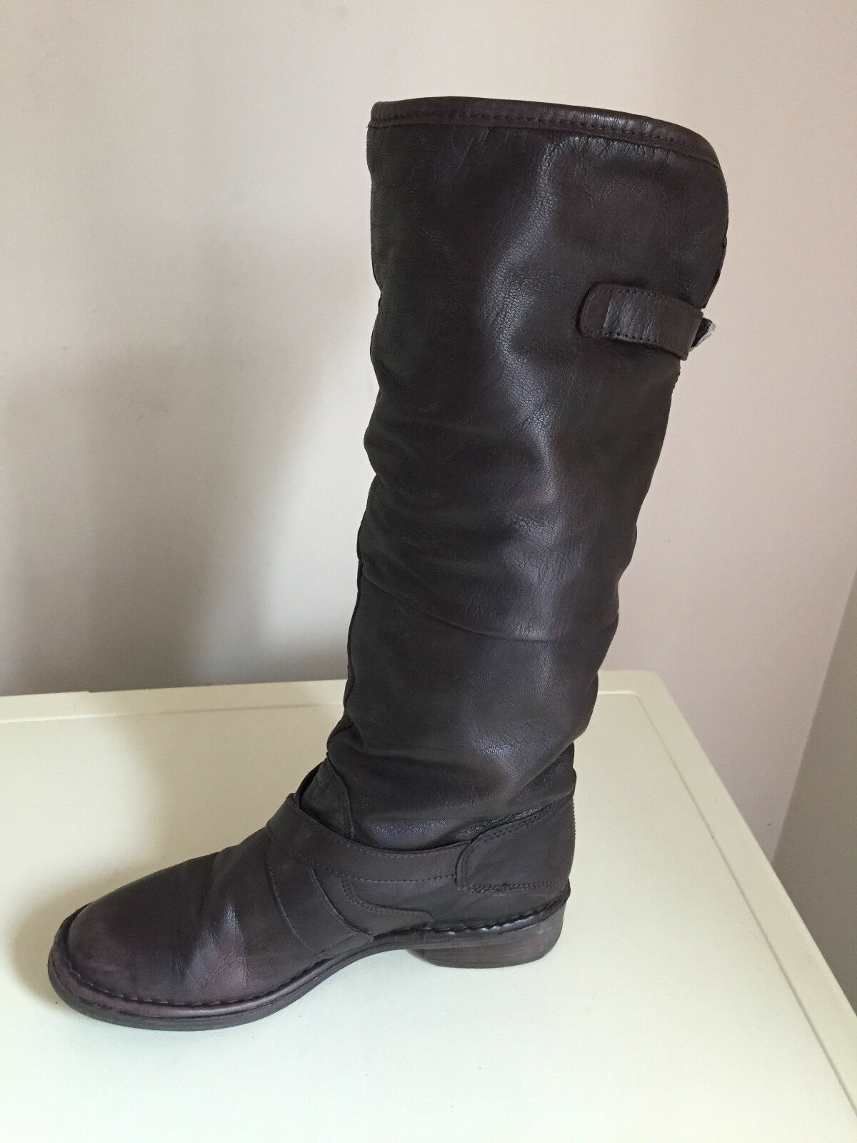 WOMEN LADIES KNEE HIGH LEATHER BROWN BOOTS WITH FLEECE LINING SIZE 40