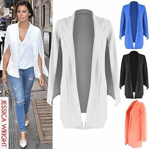 9b802d771ef90 NEW LADIES LONG CAPE JACKET WOMENS DOUBLE LAYERED SLEEVELESS ...