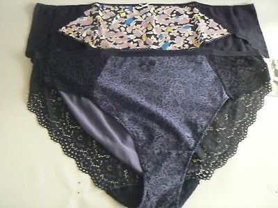NEW 2 PACK SIZE 8 MODAL /& LACE SHORTS KNICKERS PANTIES GREY /& NAVY M/&S