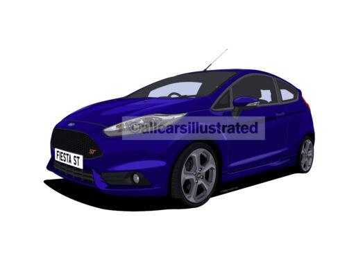 CHOOSE YOUR CAR COLOUR. FORD FIESTA ST MK7 FRIDGE MAGNET LARGE