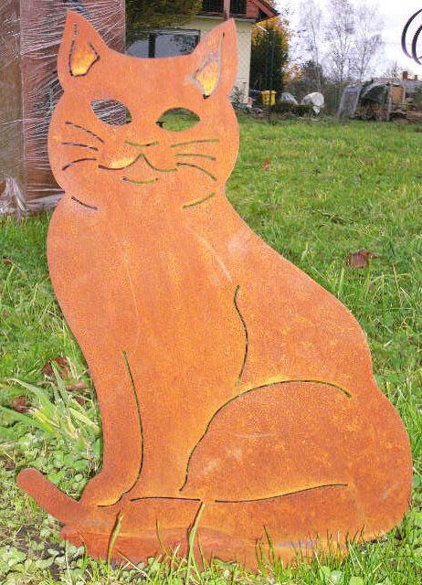 Gartenfigur Katze Rost Kater Gartendeko Edelrost Rostfigur Gartenstecker