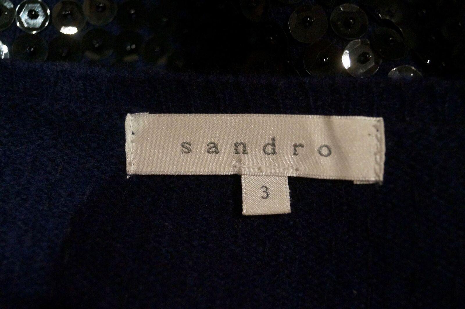 SANDRO SANDRO SANDRO Misto Lana Nero Paillettes Impreziosito Manica Lunga Maglione Pullover Top 3 L 648b4a