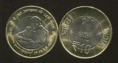 INDIA 10 RUPEES 125th Birth Anniversary of Dr BR BI-METAL 2015 LOT 10 COINS AUNC