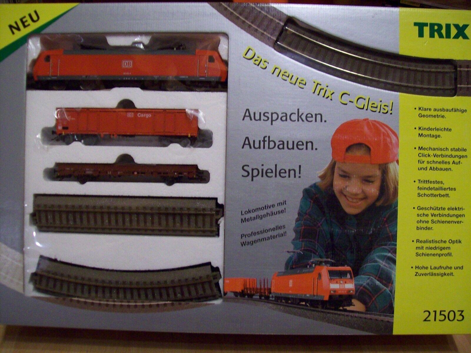 Trix 21503 Startset mit BR 185  2 Güterwagen, Gleisoval, Trafo  Neu  OVP  | Große Klassifizierung