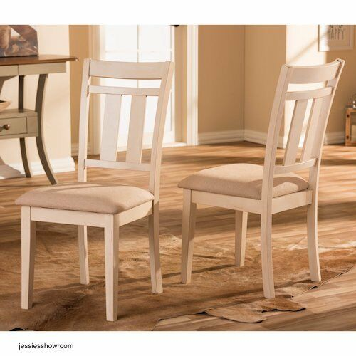 Dining Chairs French Chic Country Cottage Distressed White Oak Wood Set of  2 New