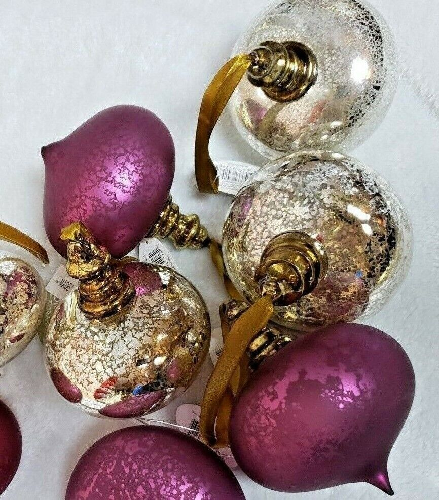 6 pcs Handblown Art Glass Christmas Tree Tree Tree Ornaments Midwest CBK Mercury Glass 4  246fdd