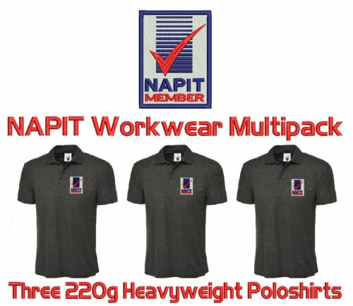 FREE NAPIT LOGO /& YOUR LETTERING! Multipack of 3 Workwear Uniform Poloshirts
