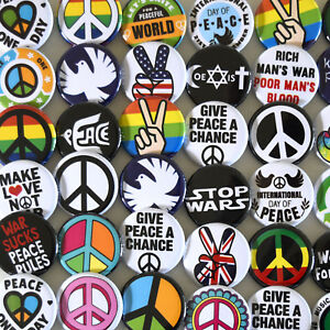 50-x-PEACE-Badges-Pinback-Buttons-Bulk-Wholesale-Lot-32mm-Peace-Sign-Anti-War