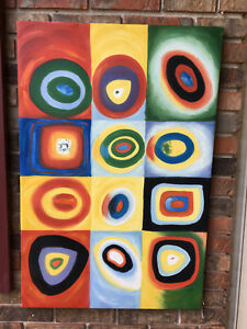 Details About Oil Paining Famous Russian Artist Kandinsky Replica New Squares Circles
