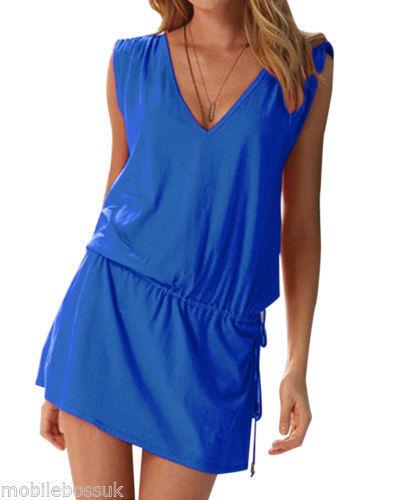 Navy Blue Ladies Beach Dress Cover Up Kaftan Sarong Summer Wear Swimwear Bikini