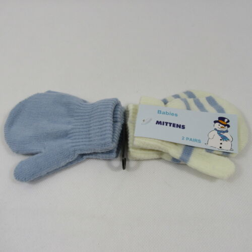 Baby Babies Girls Boys Gloves Mittens Plain Striped Mitten Mits 2 Pairs Knit NB
