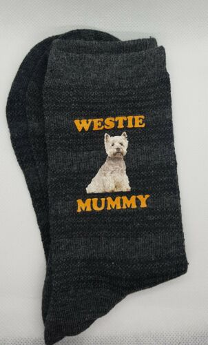 WESTIE MUMMY DARK GREY PRINTED SOCKS BIRTHDAY PRESENT HIGHLAND TERRIER GIFT BAG