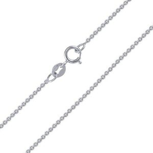 10K-Solid-White-Gold-Rolo-Necklace-Chain-0-9mm-16-24-034-Cable-Link-Women-Men