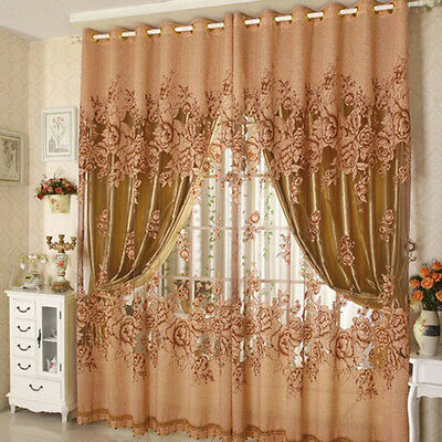 Floral Voile Window Curtain Home Room Balcony Sheer Drape Scarfs Valances Panel
