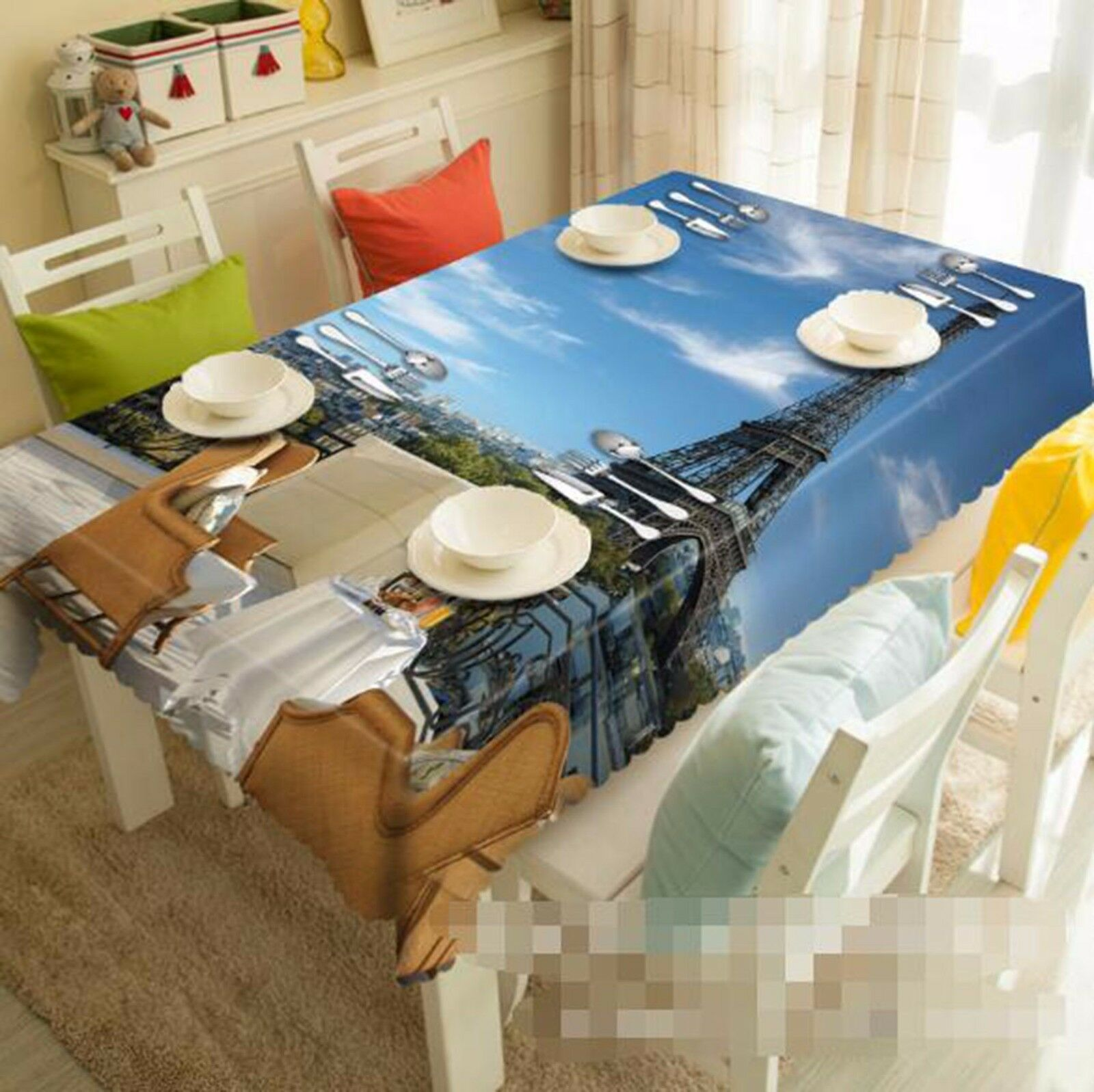 3D Tower 57 Tablecloth Table Cover Cloth Birthday Party AJ WALLPAPER UK Lemon