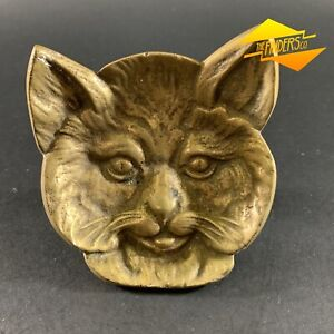SUPERB-ANTIQUE-c-1920-039-s-SOLID-BRONZE-FIGURAL-RELIEF-CAT-COIN-TIP-DISH-ASH-TRAY