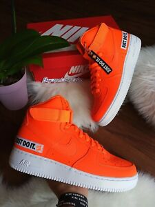 Details about SIZE 9 MEN'S NIKE AIR FORCE 1 HIGH 07 JDI JUST DO IT ORANGE NEON BQ6474 800