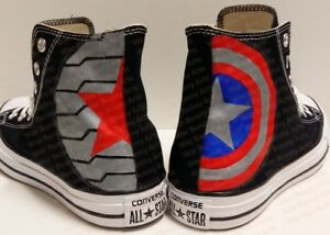 0f0cb9a89668 Image is loading Captain-America-amp-Bucky-Custom-Hand-Painted-Converse-