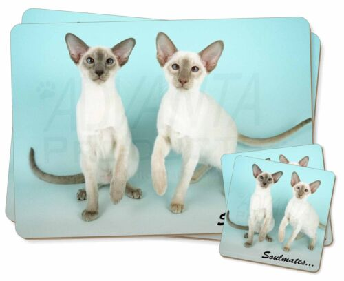 Siamese Cats 'Soulmates' Sentiment Twin 2x Placemats+2x Coasters Set i, SOUL2PC