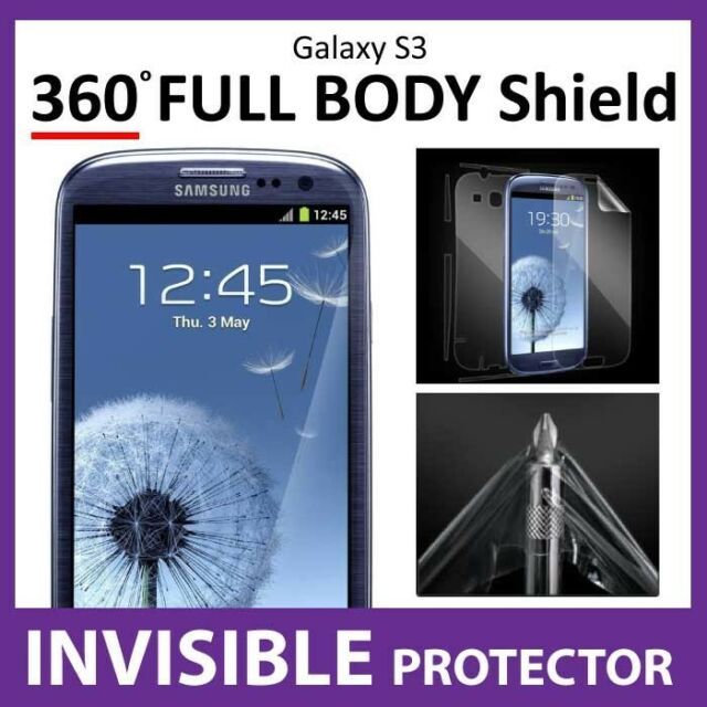 Samsung Galaxy S3 MILITARY Grade Quality 360 Shield INVISIBLE Screen Protector