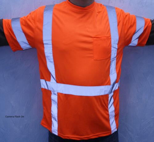 Size XXL Orange Retro Reflective Safety TSHIRT With Pocket CSA Z96 CLASS 3