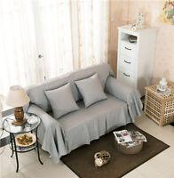 Plain Grey Canvas Slipcover Sofa Cover Ousl Protector For 1 2 3 4 Seater O