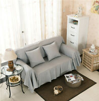 Plain Grey Canvas Slipcover Sofa Cover Ousr Protector For 1 2 3 4 Seater O