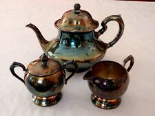 Tea Ball Landers Frary & Clark Tea Pot Sugar Creamer 5th Ave Silver Co On Copper