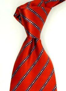 $190 ITALO FERRETTI Textured Blue w// Woven Red Silk Neck Tie NWT ITALY