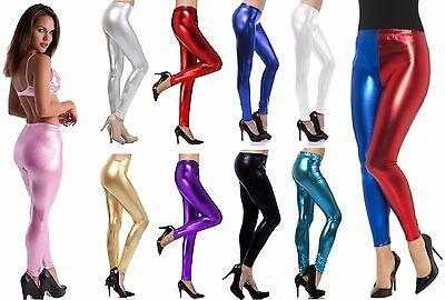 Der GüNstigste Preis New Womens Shiny Wet Look Foil Metallic Leggings Red Blue Suicide Squad Costume