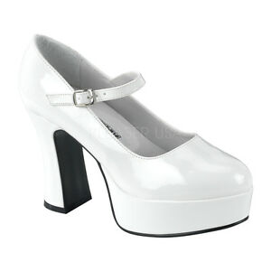 61b9d6a00cd Details about White 70s Disco Chunky Platform Mary Janes Heels Mens Drag  Queen Shoes 12 13 14
