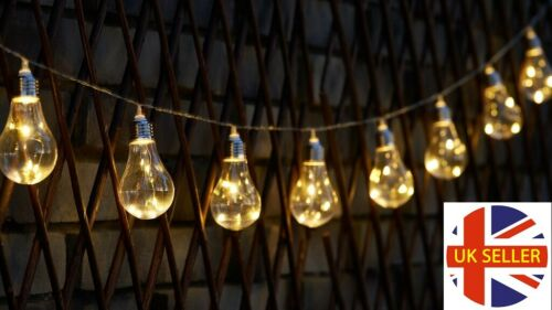 GLOBRITE Solar Powered Outdoor Wire Bulb String Lights 10 LED Bulbs