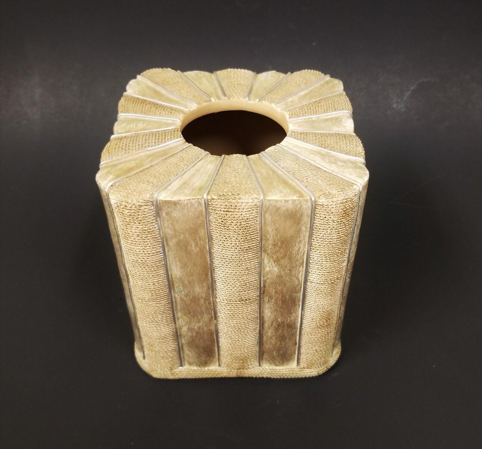 NEW KAREN LAWRENCE PALE Gold,BEIGE,CHAMPAGNE 3D RESIN TISSUE,NAPKIN HOLDER CASE