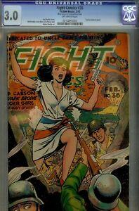 FIGHT COMICS#36- CGC 3.0- AWESOME WWII GOODGIRL ART CVR& STORIES