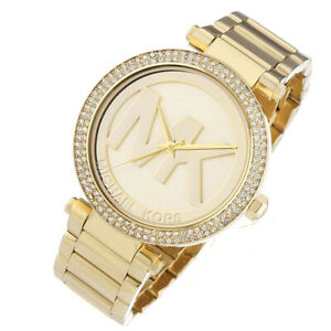 100-New-Michael-Kors-Parker-Pave-Dial-Gold-Tone-Women-039-s-Ladies-Watch-MK5784