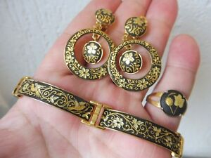 Very-Beautiful-old-Jewelry-Toledo-Bracelet-Ring-Earrings-Drop-Earrings-Clips