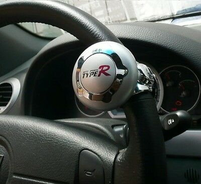 Silver TypeR Car & Lorry Steering Wheel Aid Power Handle Assister Spin Knob Ball