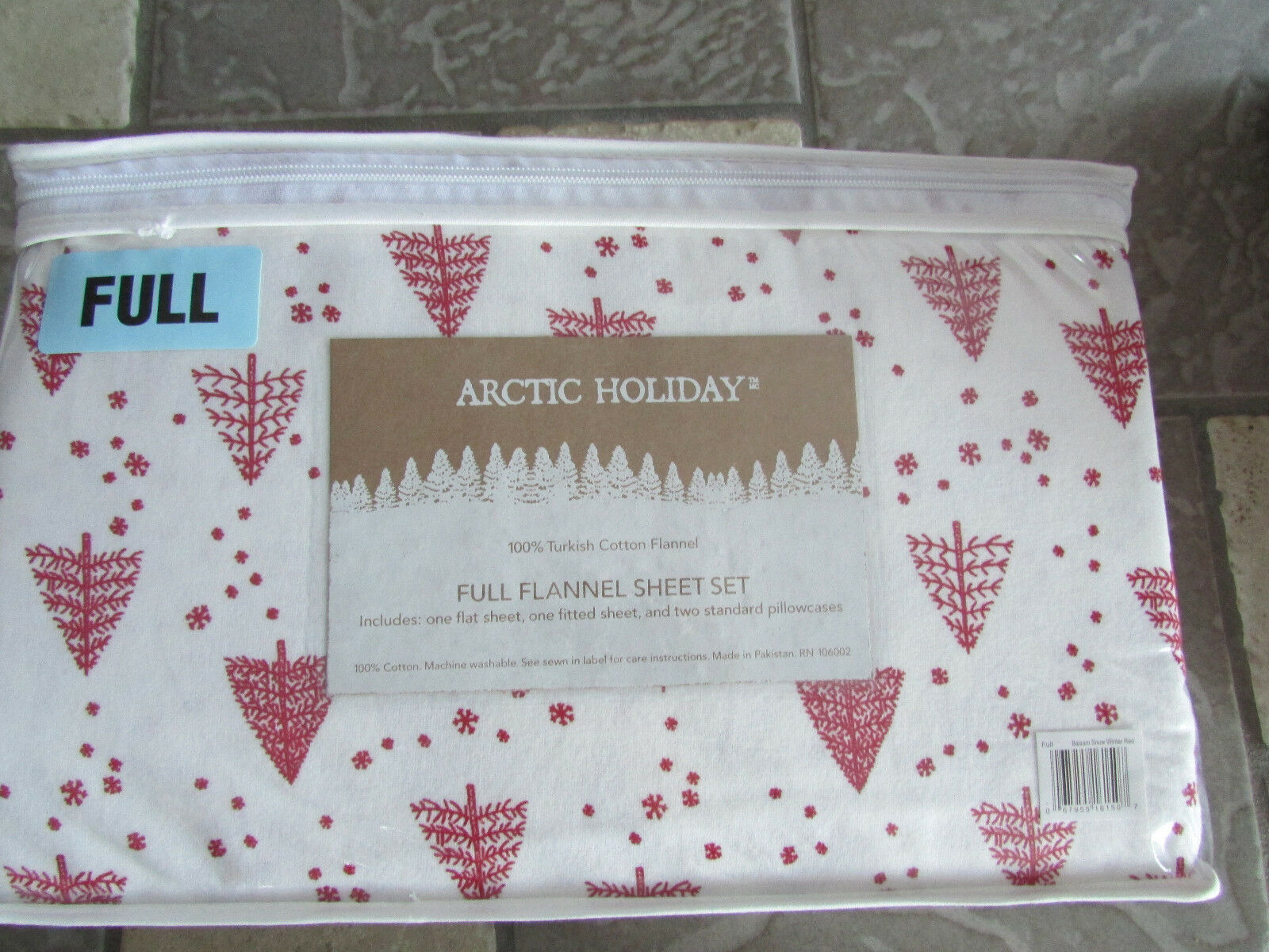 NEW FULL FLANNEL SHEET SET PINE TREE PRINT DOUBLE SIZE SHEET SET ARCTIC HOLIDAY