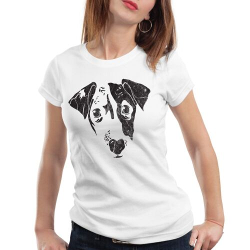 Dog Damen T-Shirt Hund Haustier Tier Gesicht jack russel terrier Hundegesicht