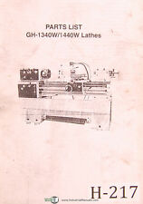 Birmingham Acra Gh 1340with1440w Lathes Parts Lists Manual
