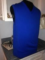 NWT $135 Bobby Jones Sapphire Blue Pima Cotton V neck Golf Sweater Vest M Med