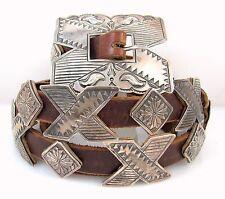 DANIEL MARTINEZ Navajo Handmade Stamped Sterling Silver Leather Concho Belt J