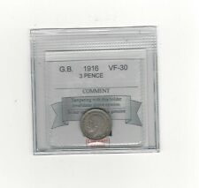 **1916**Great Britain, Threepence, Coin Mart Graded**VF-30**