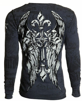 Archaic AFFLICTION Mens THERMAL Whipstitch T-Shirt HERCULES Biker UFC M-XXL $58