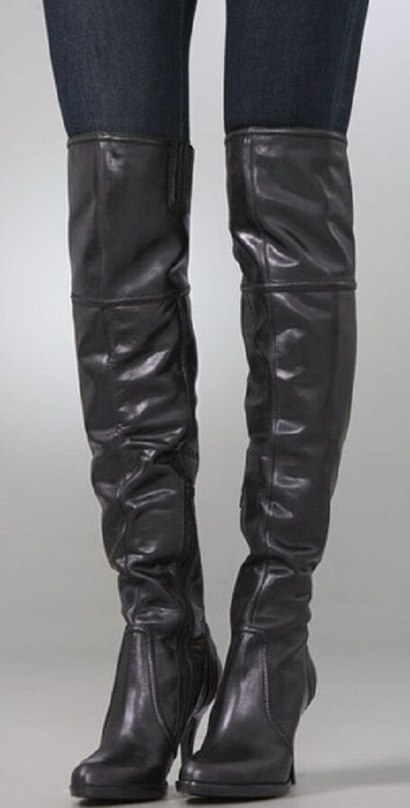 350 Juicy Couture Couture Couture GIGI Over The Knee Black Leather BOOTS Womens 8.5 New in Box 4184a4