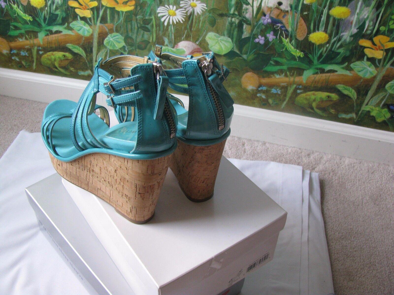 Nine Synthetic West Women Romancing Blue Synthetic Nine Leather Wedge High Heel Shoe Size 8.5 83c3e8