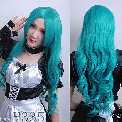 New Sailor Moon Kaiou Michiru Neptune 80cm long wavy green Cosplay wig+free gift